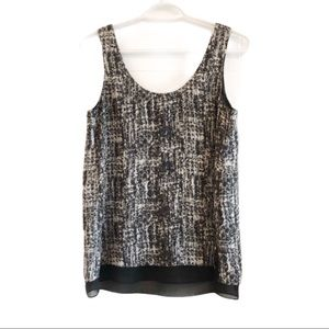 Vince 100% silk sleeveless blouse black and white